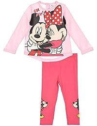 Legging et T-shirt bébé fille Minnie et Mickey Rose et Gris de 6 à 24mois