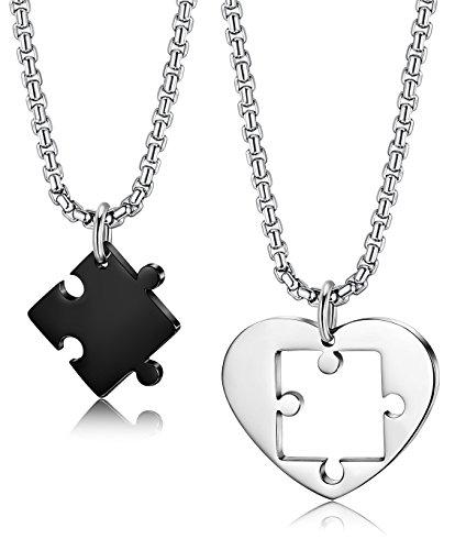 Besteel gioielli in acciaio inossidabile ciondolo collana uomo donna coppia con ciondolo puzzle amicizia collane lunghe 55cm