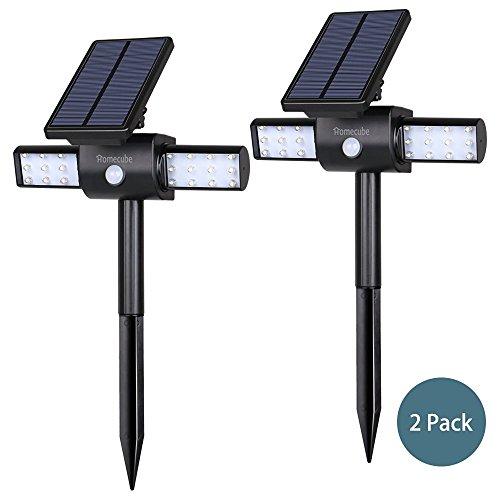 Preisvergleich Produktbild Solarleuchte ,  Homecube 360 ° Rotating Solarbewegungs -Sensor Außenleuchten Wasserdicht 24 LED-Garten-Scheinwerfer / Wandleuchten mit Dual Head und USB-Kabel (2 Packungen)