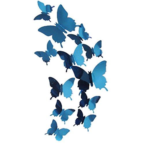 Tefamore Pegatinas de pared Calcomanía mariposas Espejo 3D Mural Decoraciones para el...