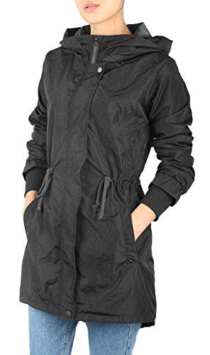 iLoveSIA Damen Parka Winddicht wasserdicht Herbst Regenjacke Windjacke Übergangsjacke schwarz DE40 - US10