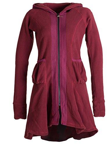 Vishes - Alternative Bekleidung - Fleecemantel mit Kapuze, abgesetzten Nähten und dekorativen Taschen dunkelrot 46 (Alternative Kapuzen)