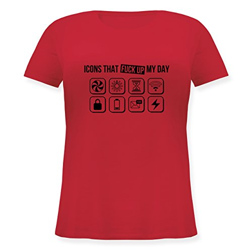 Shirtracer Designer - Icons That Fuck Up My Day - S (44) - Rot - JHK601 - Lockeres Damen-Shirt in Großen Größen mit - Oversize-rechner