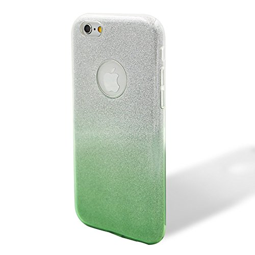 Custodia per iPhone 6/6S, Case Cover per iPhone 6/6S 4.7, [ Soft TPU + Glitter Paper + Hard PC ] 3 in 1 Hybrid Layers Protection Back Cover, Silm Thin (Verde) Skin Cases per Apple iPhone 6S 6 (4.7 in Verde