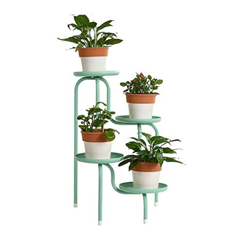 IU Desert Rose Étagère de balcon Stand de fleur Style européen Creative Iron Floor Pots de fleurs Etagère Tient Pot de 4 fleurs Pour Balcon Salon Plante d'Intérieur Stand Etagère (64 * 41 * 21 cm)