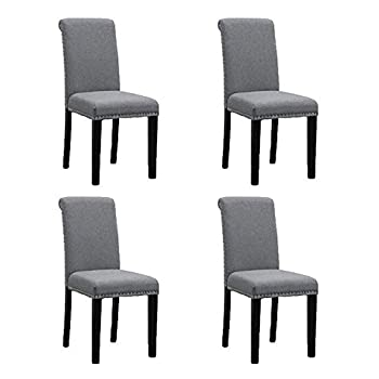 BOJU Modern Grey Fabric Dining Chairs Set of 4 for Kitchen Studded with Headnail Soft Upholstered Padded Seat Black Wood Leg Occasional Chairs for Reception Lounge Restaurant …