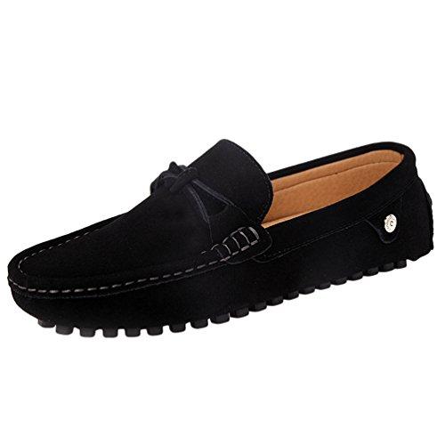 Jitong scarpe da barca uomo mocassini loafer di piatto leggero casuale faux pelle loafer (nero, cn 41)