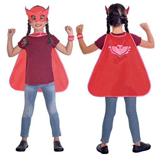 amscan 9903735 Kinder Umhang-Set PJ Masks Owlette, Rot, 110-128 cm