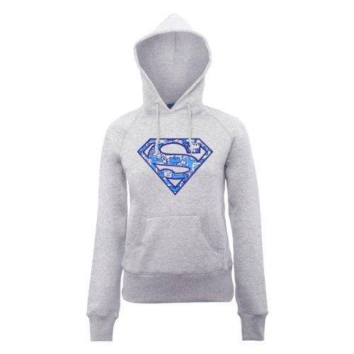 DC Comics Damen Official Superman Comic Logo Womens Hooded Sweatshirt Kapuzenpullover, Erika-Grau, 40