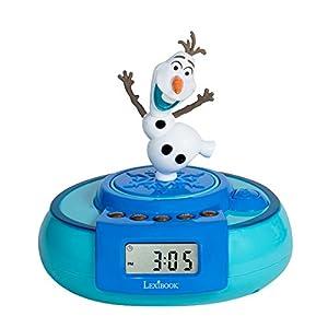 Disney RL985FZ Frozen-Radio Despertador, Olaf Salta al Despertar (Lexibook, Color Azul Claro
