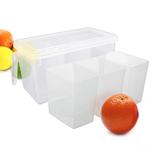 SKYFUN (LABEL) Food Grade Plastic Refrigerator Freezer Storage Basket Organizer with 3 Smaller Bins Boxes and Lid(Fridge Basket with 3 Smaller Bin)