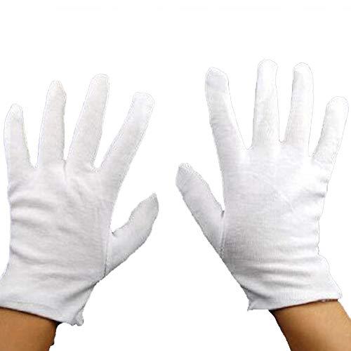 NaiCasy weiße Handschuhe, Baumwolle, feuchtigkeitsspendend, 12 -