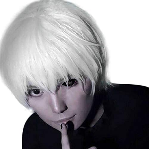 (Perücken ZYUEER Wigs Mode Perücke Anime Cos Cosplay Party Männer Kurze WeißE Haare Gefälschte Haare Flauschige Realistische Kurze Gerade Haare 15cm (Weiß))