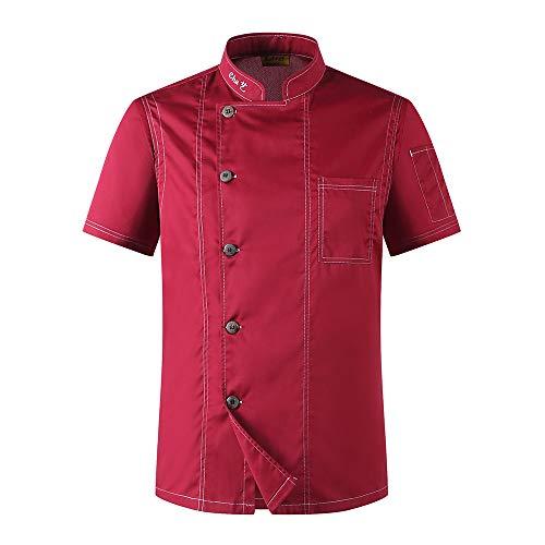 Chef Coat, Damen und Herren Chef Catering Jacken Arbeitsuniformen, Restaurant Kitchen Food Service Baumwolle Kurze Ärmel Koch Anzug,Red,M