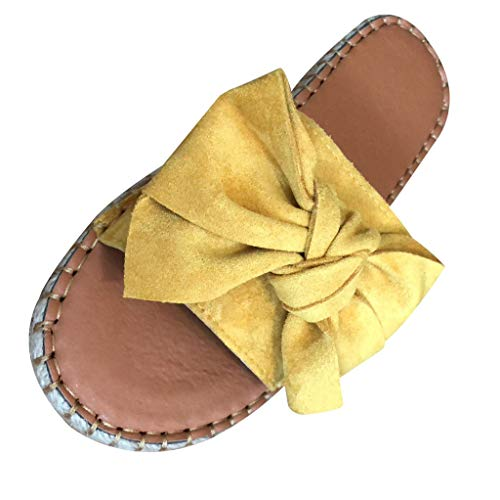 CUTUDE Rom Frauen Sommer Butterfly-Knot Slipper Flache Strand Hausschuhe offene Zehensandalen Schuhe Übergröße Sommerschuhe Strandschuhe Pantoletten (Gelb, 41) -