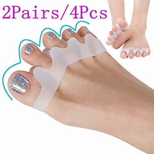 Separatore dita piede, barelle in gel per dita del piede sovrapposte, aiuta a sistemare l'alluce valgo, dita a martello, dita incrociate e più. (2 paia, 4pcs)