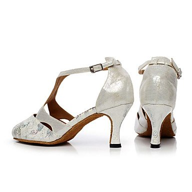 XIAMUO Nicht anpassbar - Die Frauen tanzen Schuhe Leder Leder Latin/Moderne Turnschuhe Ferse Praxis Silber