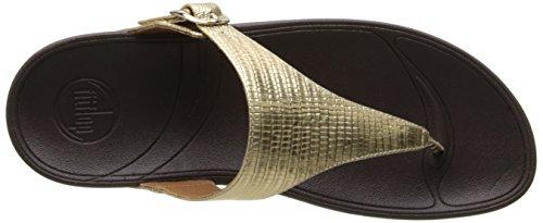 Fitflop Skinny Croc, Sandales femme Or (Gold)