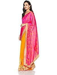 Womanista Women's Faux Silk & Georgette Sari With Blouse Piece(FS9195_Pink And Yellow_Free Size)