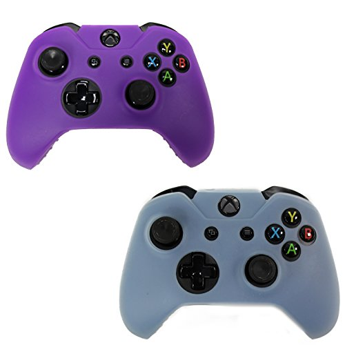 HDE 2 Pack Protective Silicone Gel Rubber Grip Skin Cover for Xbox One Wireless Gaming Controllers (Sky Blue + Purple)