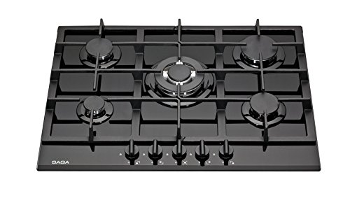 SAGA Teres P751-B Plaques de cuisson en Verre trempé avec 5 brûleurs à gaz Noir 70 cm