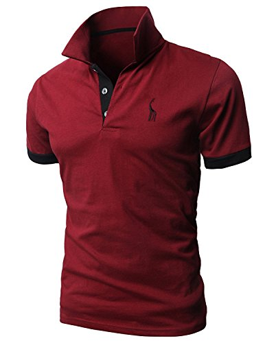 Mentrend-Leisure Poloshirts Herren Basic Kurzarm Polohemd, Rot, M -