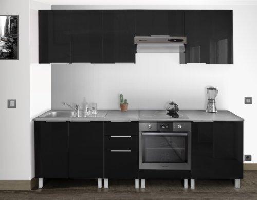 Berlenus ce8bn meuble bas de cuisine sous evier noir haute for Evier noir 80 cm