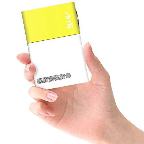 Artlii Mini Proyector, Proyector de Bolsillo con la Entrada de USB/SD/AV/HDMI para el Interfaz Teléfono Inteligente/TV / Películas/Juegos / Exposiciones