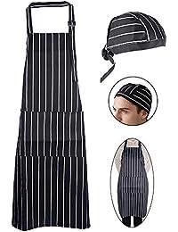 JNCH 1pz Grembiule Lungo con Tasca 1pz Cappelli Cappellini Bandana Berretti  da Cuoco Uomo Donna Unisex 002aa003d06e