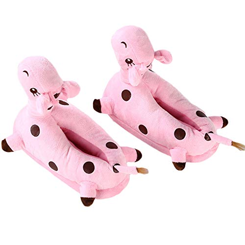 HERUNNA Giraffe Cartoon Slippers, Winter Warm Soft Stuffed Plush Cotton Shoes Home Decor