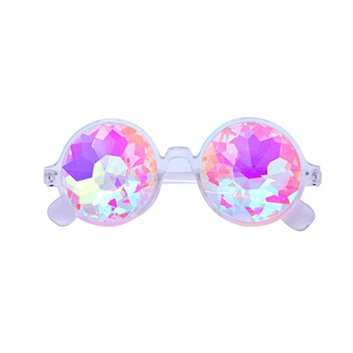 Toyvian Kaleidoskop-Glas-runde Beugungs-Sonnenbrille Rave-Beugungs-Glaskristall-Objektive (transparente Farbe)