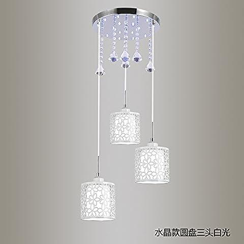 Modern Vintage pendant ceiling light restaurant led personality idyllic lounge dining room light dinner light tableware 15*25cm,3 head Rotary +LED white light 9 W crystal glass