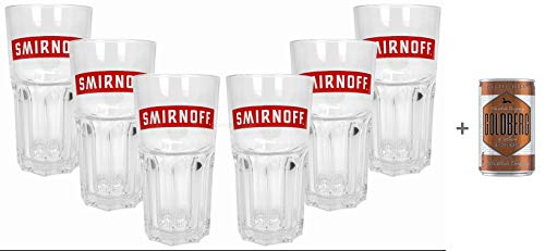 Smirnoff Peppermint Twist Longdrink Glas Gläser - 6er Set + Goldberg Intense Ginger 0,15l EINWEG -