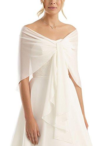 Brautstola Schal in Form, Stola Rundstola Chiffon zum Hochzeitskleid / Abendkleid, creme / ivory