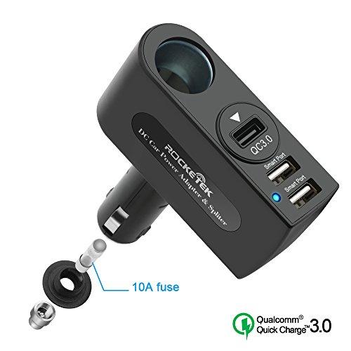 Adattatore di caricabatteria ad alta velocità USB 3.0, adattatore per accendisigari con attacco USB 2.0 di Rocketek 2 USB con fusibile 10A - 2x porta USB intelligente + 1 x porta caricabatteria USB QC3.0