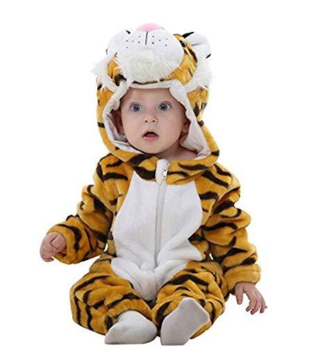 Kostüm Flanelle - Trayosin Baby Flanell Winter Strampler Bekleidung Jumpsuit Spielanzug Kapuze für Mädchen und Junge (Tiger, 90cm)
