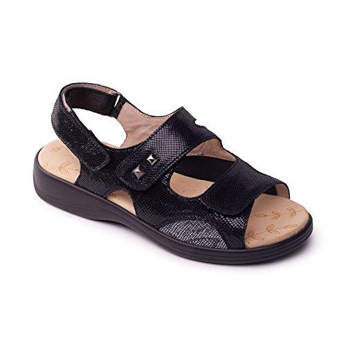 Padders Grandi donne di cuoio sandalo 'Gem'   Profondo e di grandi dimensioni   EEEE super grande larghezza   30 millimetri tallone   calzascarpe libero Rettile nero