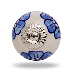 Round Ceramic Blue Flower Knob Chrome Finish By Trinca-Ferro