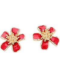 0b398b516b8a ZHOUYF Pendientes De clip Aros Pendientes De Botón Pendientes De Flores De  Esmalte Rojo para Mujer