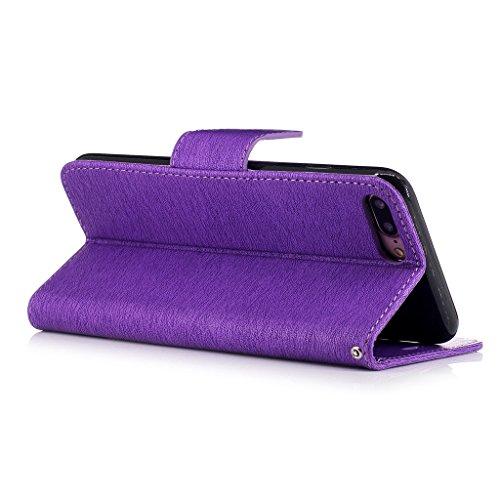 Crisant 3D Kettensägen-Bär Drucken Design schutzhülle für Apple iPhone 7 Plus 5.5'',PU Leder Wallet Handytasche Flip Case Cover Etui Schutz Tasche mit Integrierten Card Kartensteckplätzen und Ständer  lila