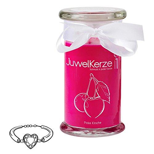 JuwelKerze Pinke Kirsche - Kerze im Glas mit Schmuck - Große rosane Duftkerze mit Überraschung als Geschenk für Sie (925 Sterling Silber...