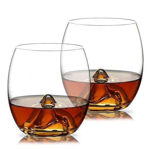 Verres à Whisky, Homii Verres à Boire, Tasses en Verre,Verres de Cristal Verre Vin Lot de 2