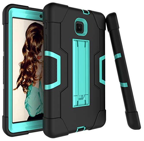 Dooge Schutzhülle für Galaxy Tab A 8.0 2018, 3-lagig, Polycarbonat, stoßdämpfend, robust, Hybrid-Schutzhülle mit Ständer für Samsung Galaxy Tab A 8 (2018) SM-T387 Verizon/Sprint, Black-Aqua