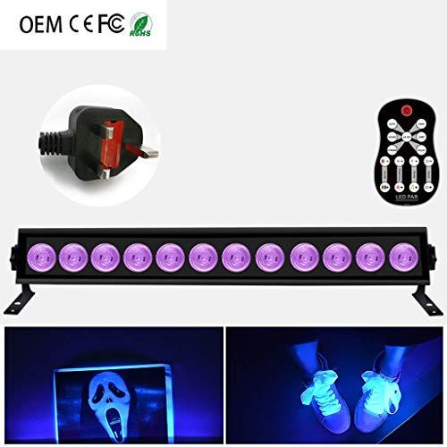 Disco-Licht, LED-9/12 / 9W / 12W mit Fernbedienung UV-Streifen-Licht Violet Wall Washer Bühnenlicht for KTV DJ Halloween Weihnachtsdekoration Stage Disco F1 ( Color : 12 , Size : Uk ) -