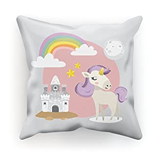 Kissen bedruckt aus Baumwolle mit Füllung–30x 30cm oder 45x 45cm–My Little Einhorn, Baumwolle, weiß, 30x30cm