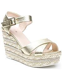 Ideal Shoes - Sandales compensées et nacrées Julia
