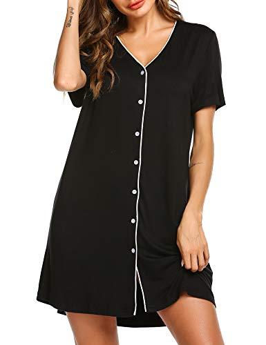 ADOME Nachtwäsche Nachthemd Pyjama Schlafshirt Oberteile Einteiliger Sommer Kurzarm Nachtkleid Sommer Schwangere Frauen Knopfleiste - Luxus Nachtwäsche