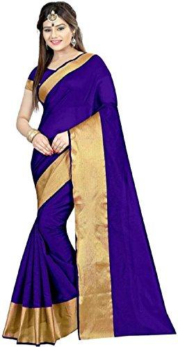 Luxx Fashion Cotton Saree (Blue_Free Size)