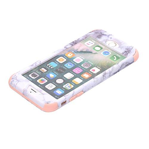 Cover iPhone 8 plus 5.5, Custodia iphone 7 plus, iphone 8 plus Silicone Cover, MoreChioce 360°Protection Moda Painting Colorato Marmo Modello Custodia, Ultra Slim Soft Silicone Gomma Morbido TPU Ragaz Marmo Rosa chiaro