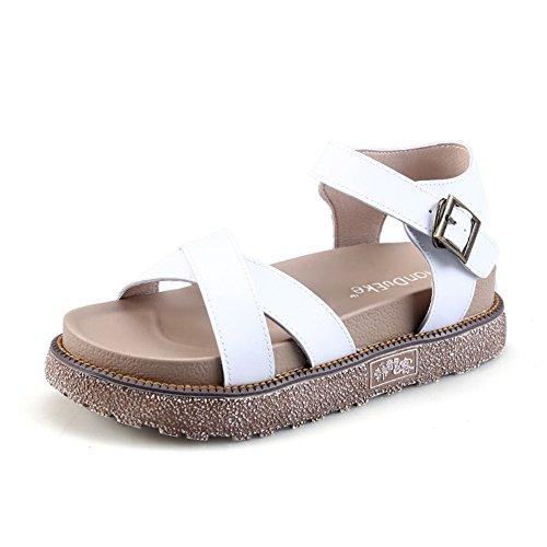 Wealsex Damen Outdoor Freizeit Flats Bequeme PU Leder Flach Sandalen Weiß